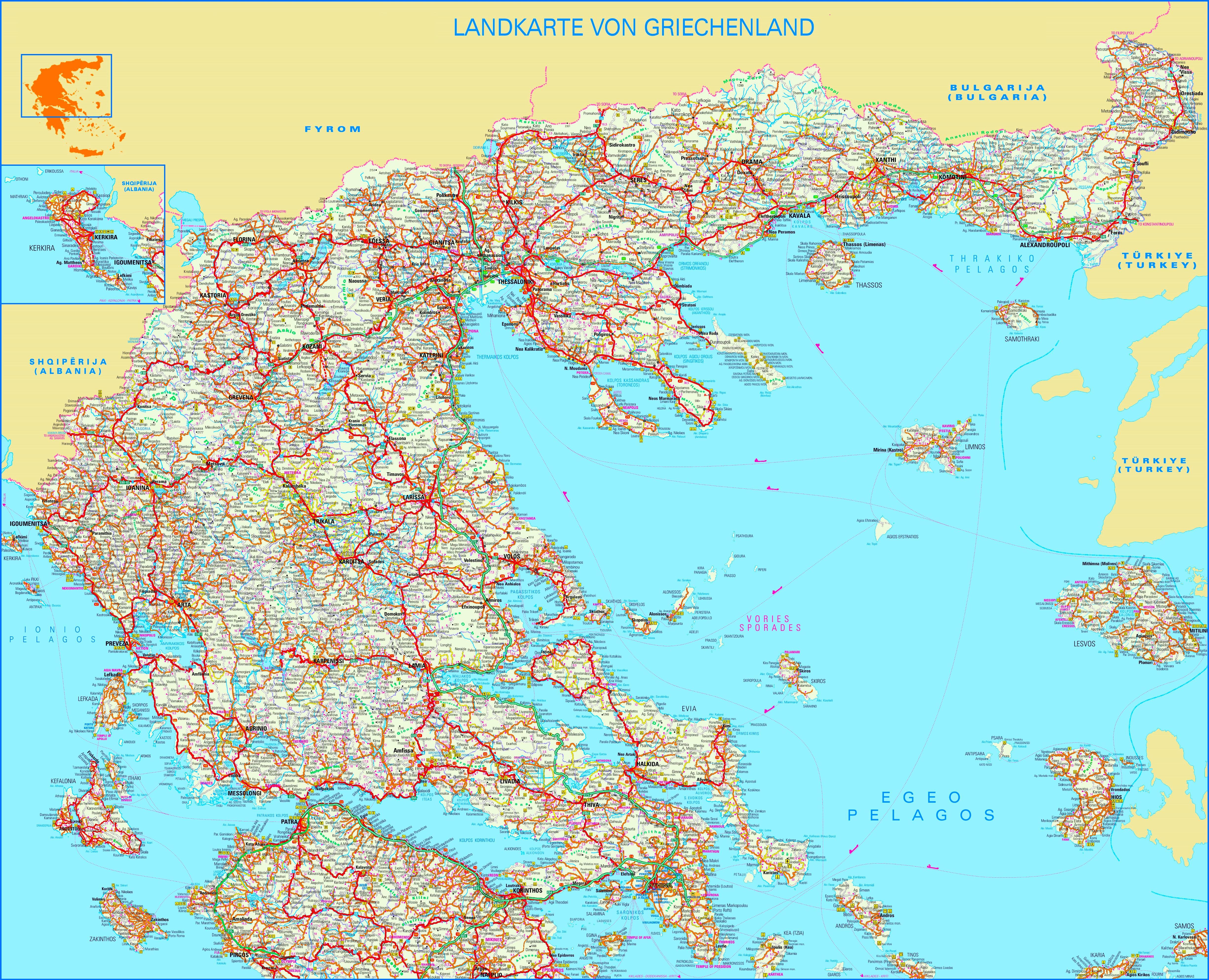 Karte Griechenland.Große Detaillierte Karte Von Griechenland