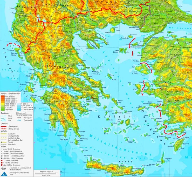 Physische landkarte von Griechenland