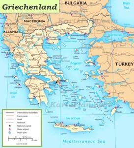 Straßenkarte Griechenland