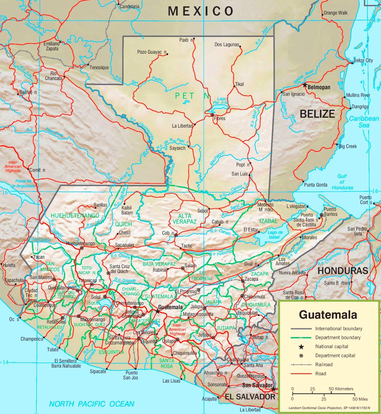 Guatemala Karte.Guatemala Politische Karte