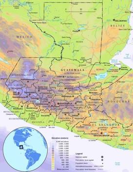Physische landkarte von Guatemala