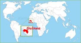 Guinea auf der Weltkarte