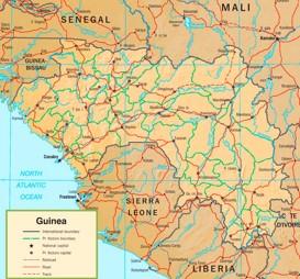 Guinea politische karte