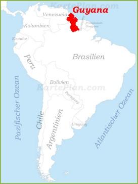 Guyana auf der karte Südamerikas