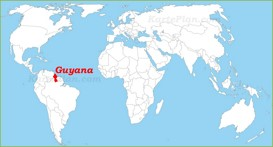 Guyana auf der Weltkarte