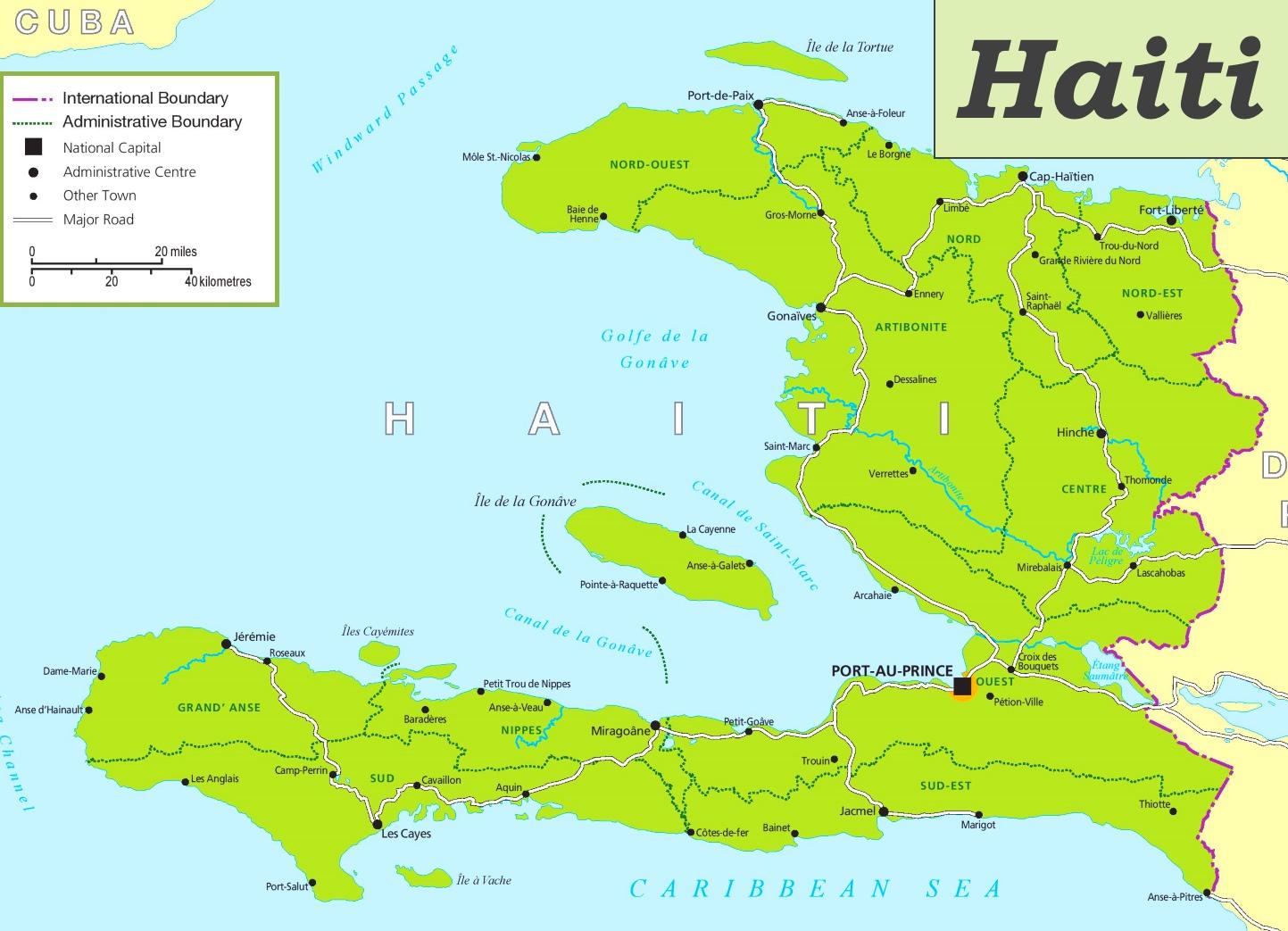 Haiti Karte.Haiti Politische Karte