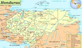 Honduras politische karte