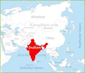 Indien auf der karte Asiens
