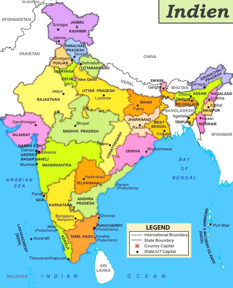 indien karte bundesstaaten Indien politische karte