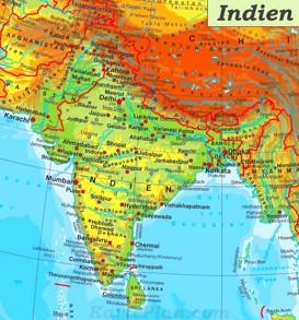 Physische landkarte von Indien