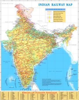 Schienennetz karte von Indien