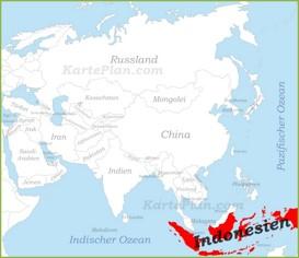 Indonesien auf der karte Asiens