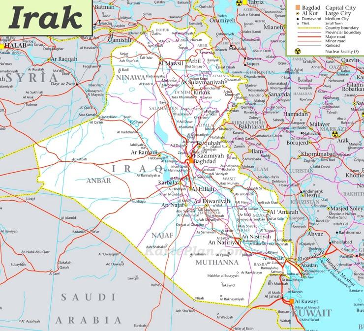 Große detaillierte karte von Irak