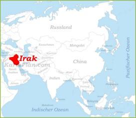 Irak auf der karte Asiens