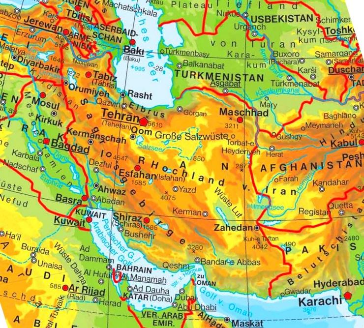 Physische landkarte von Iran