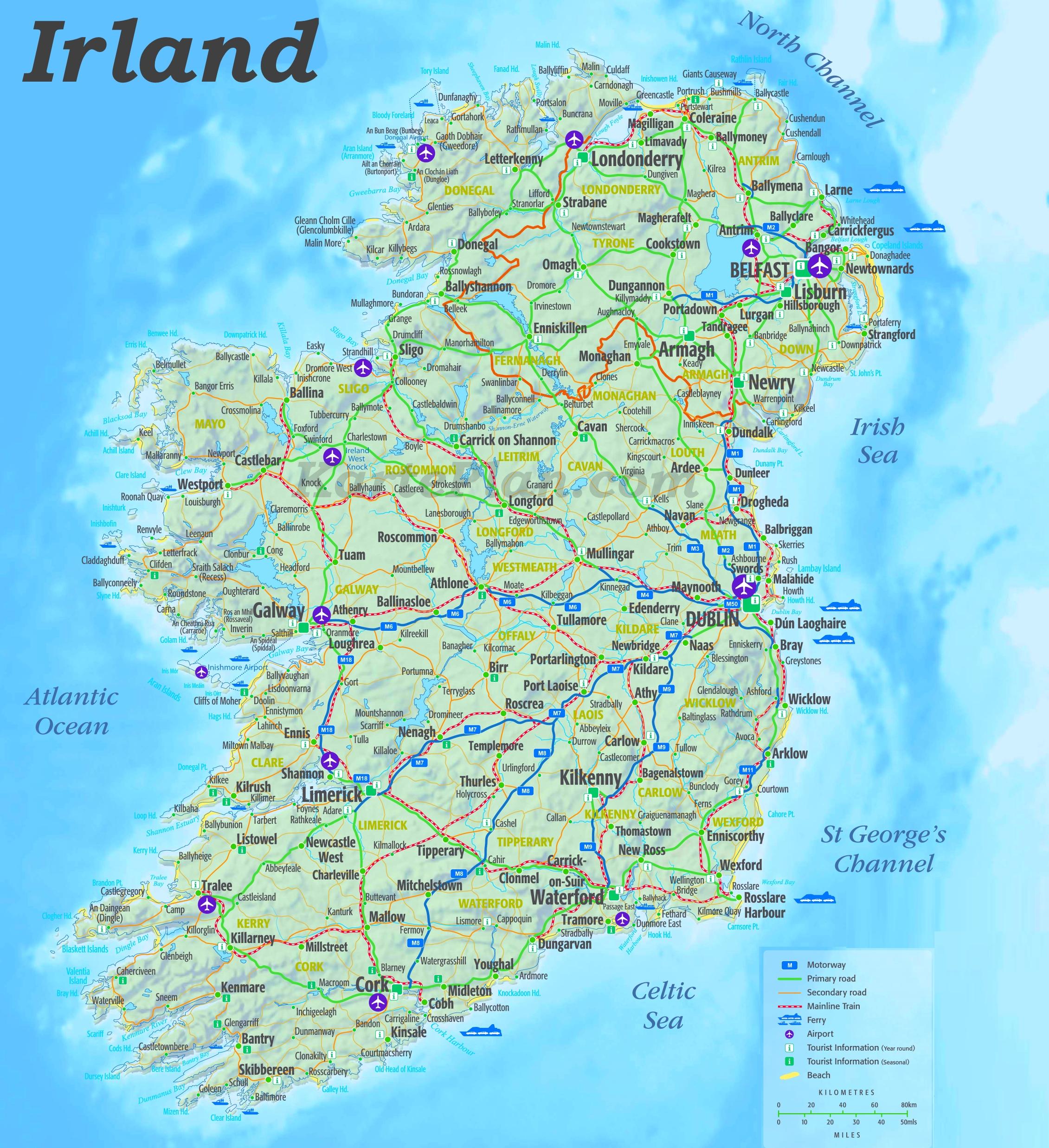Irland Karte.Grosse Detaillierte Karte Von Irland