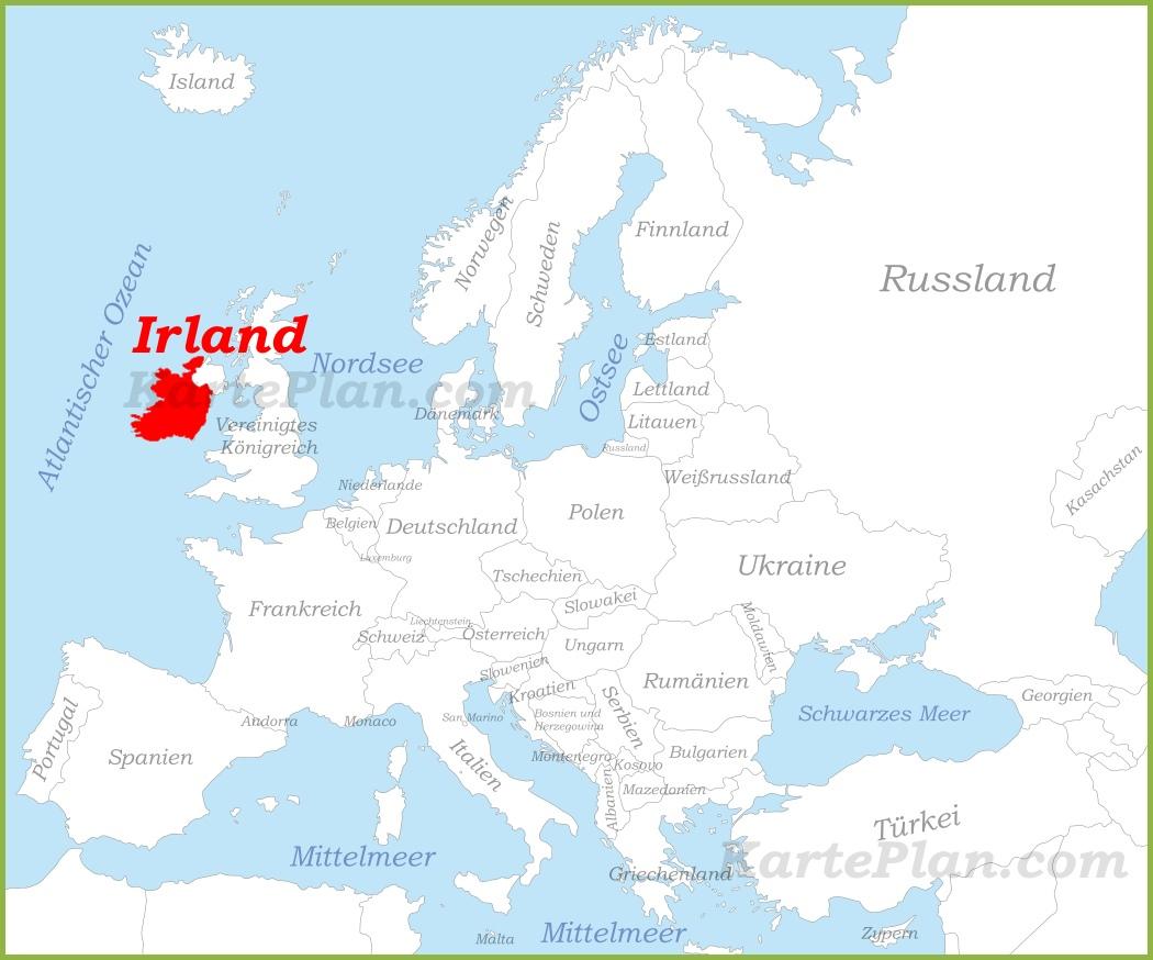 Irland Auf Der Karte Europas