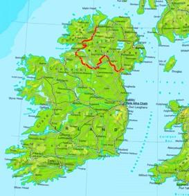 Physische landkarte von Irland