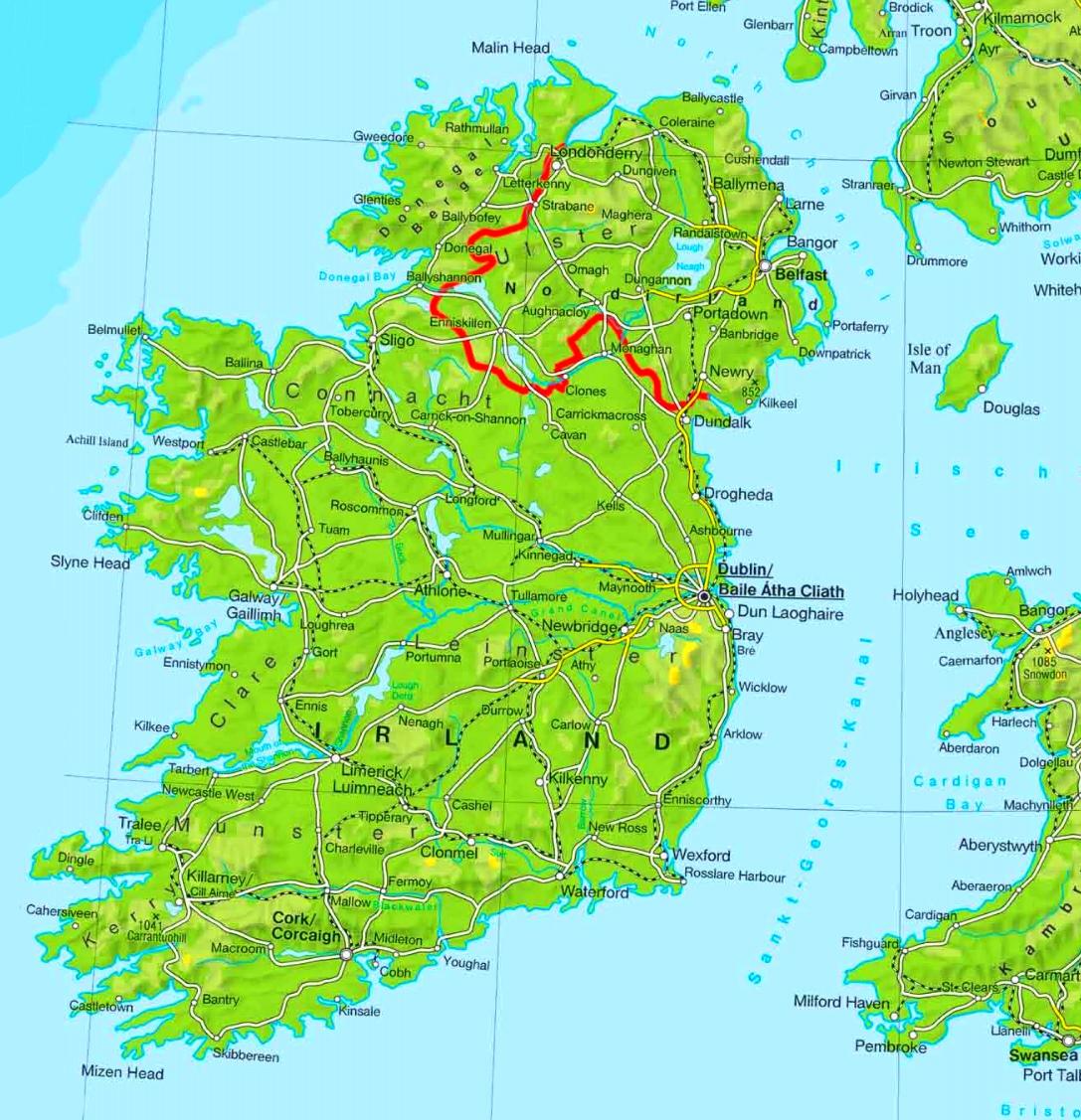 Irland Karte.Physische Landkarte Von Irland