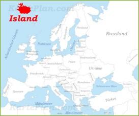 Island auf der karte Europas