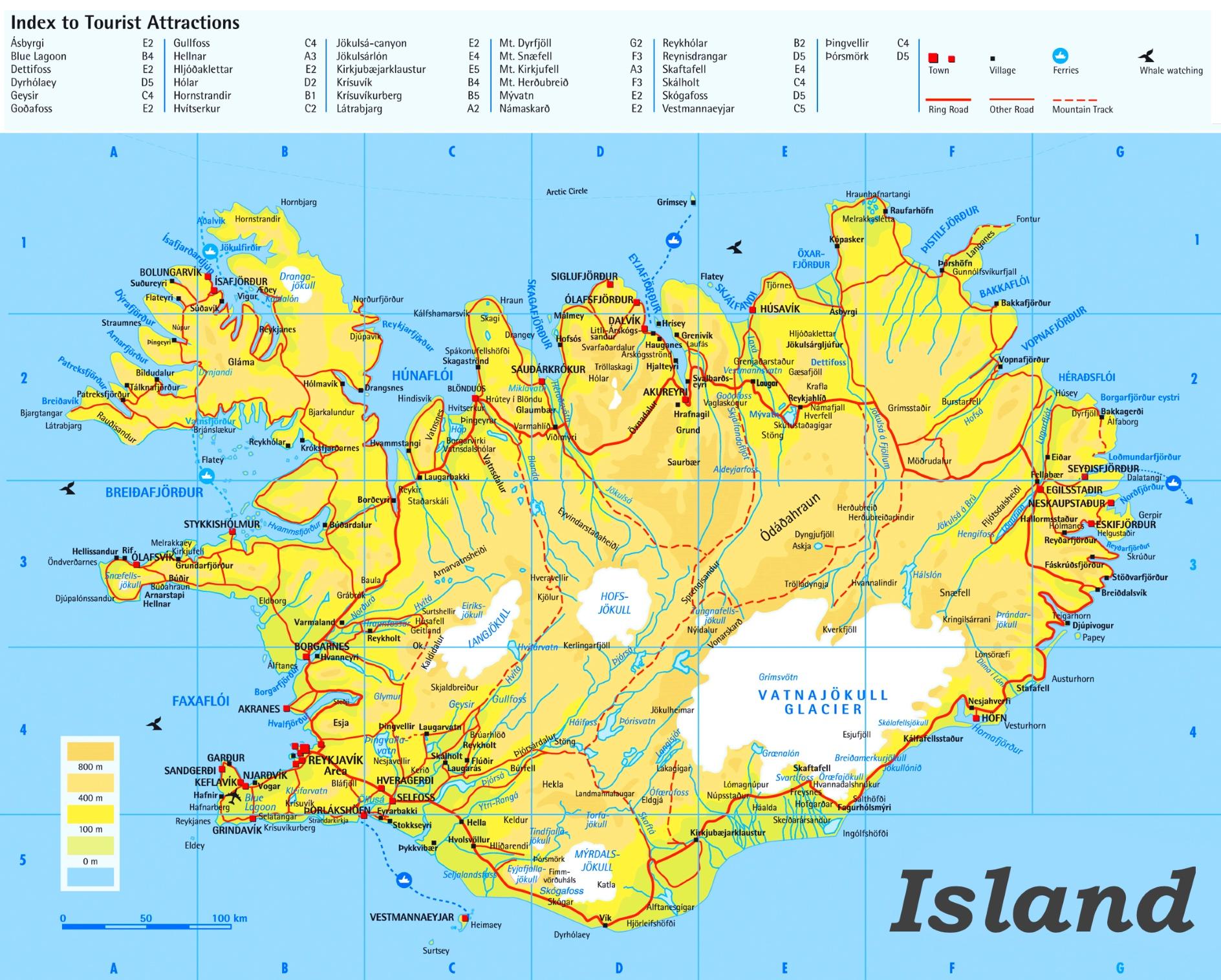 Island Touristische Karte