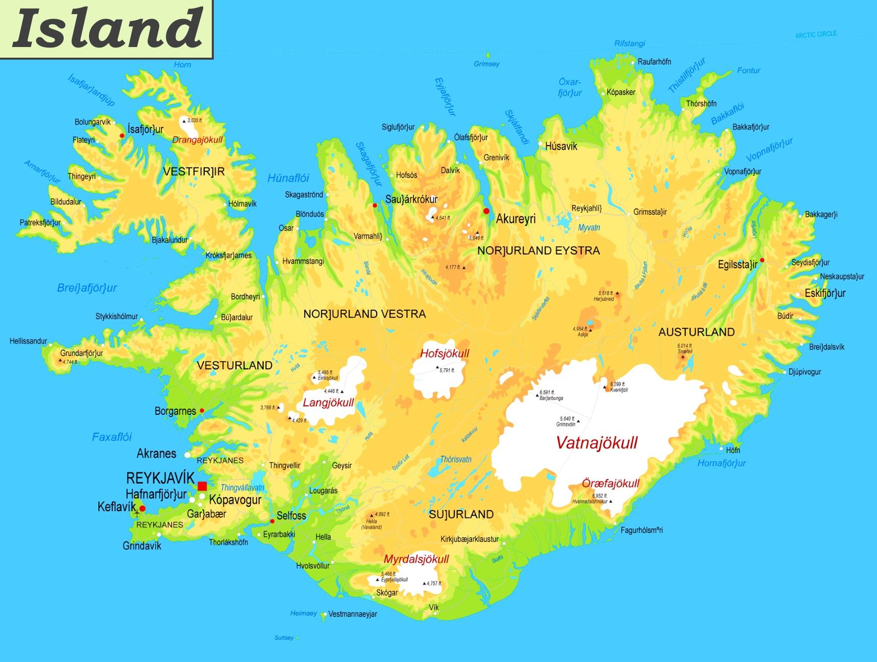Physische Landkarte Von Island