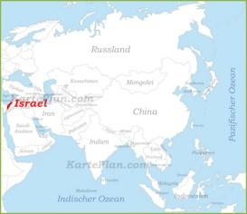 Israel auf der karte Asiens