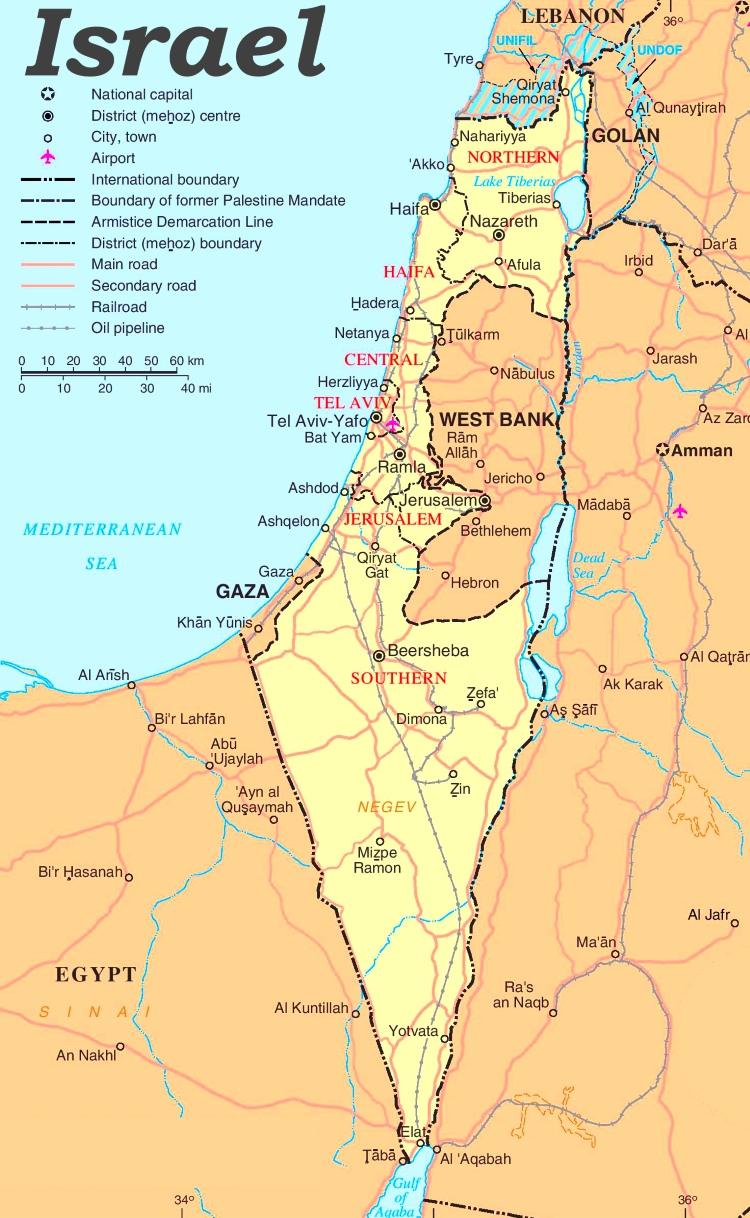 Israel Karte.Israel Politische Karte