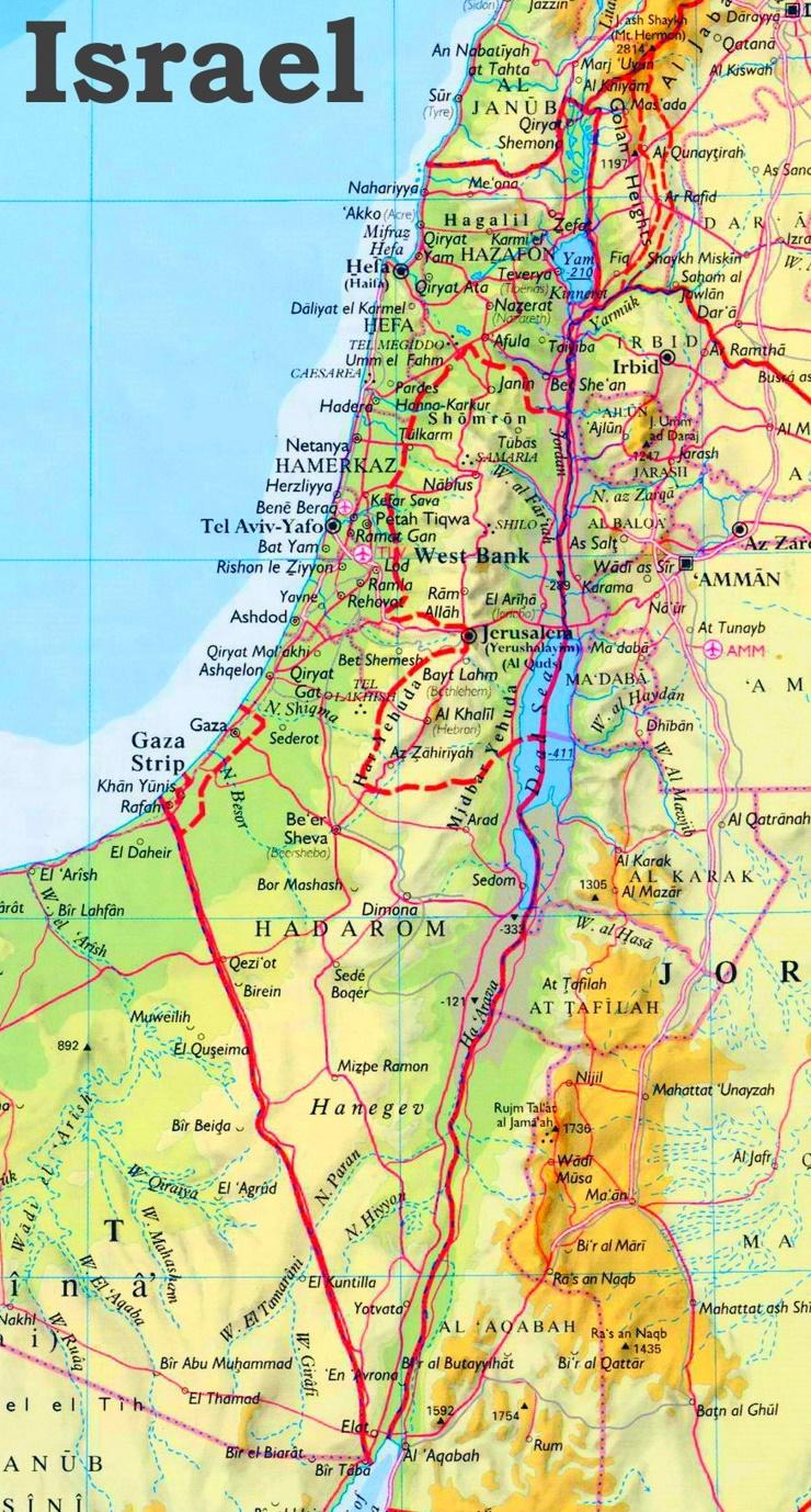Physische landkarte von Israel