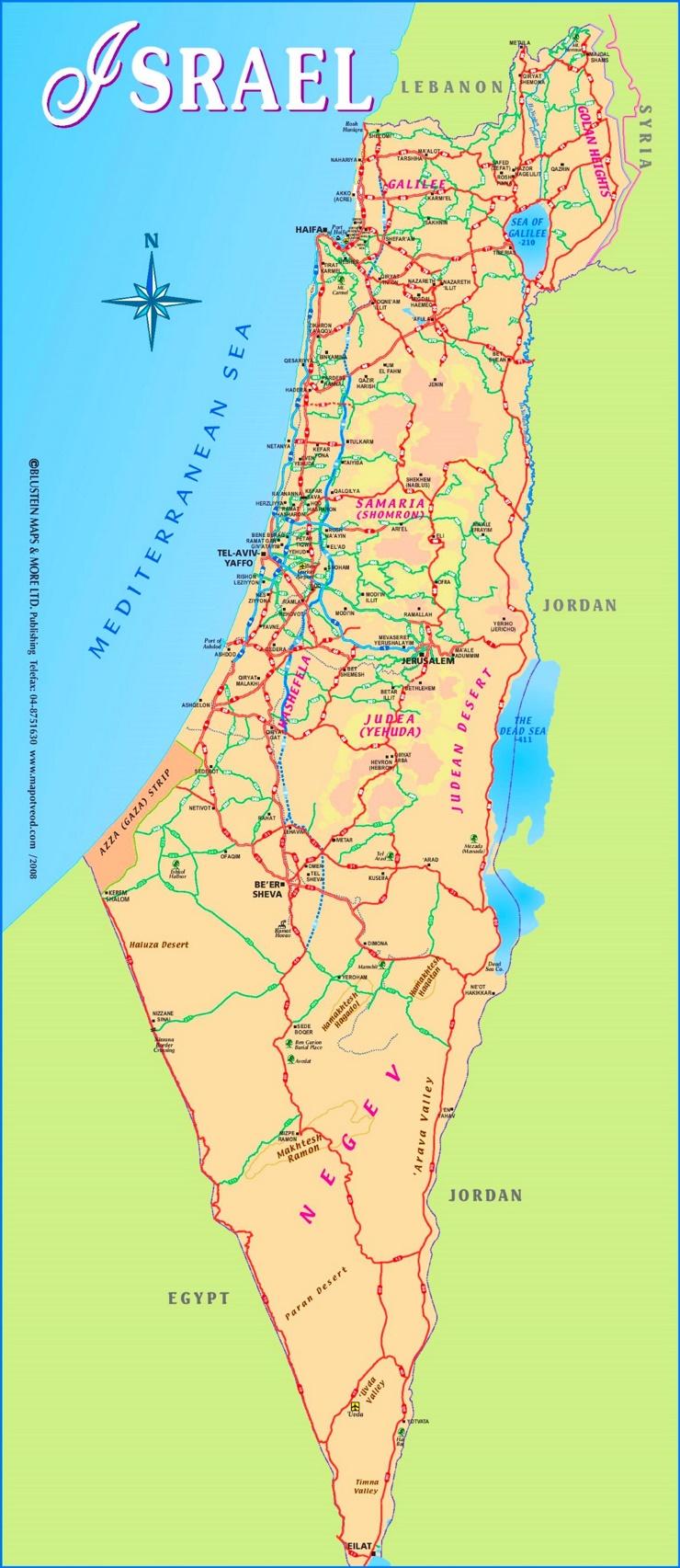 Straßenkarte Israel