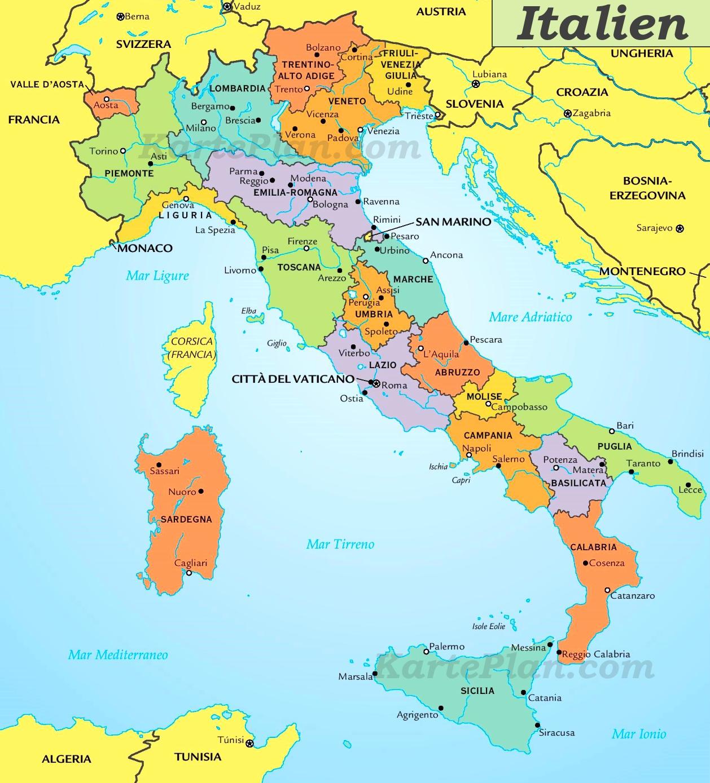 Italienische Regionen Karte