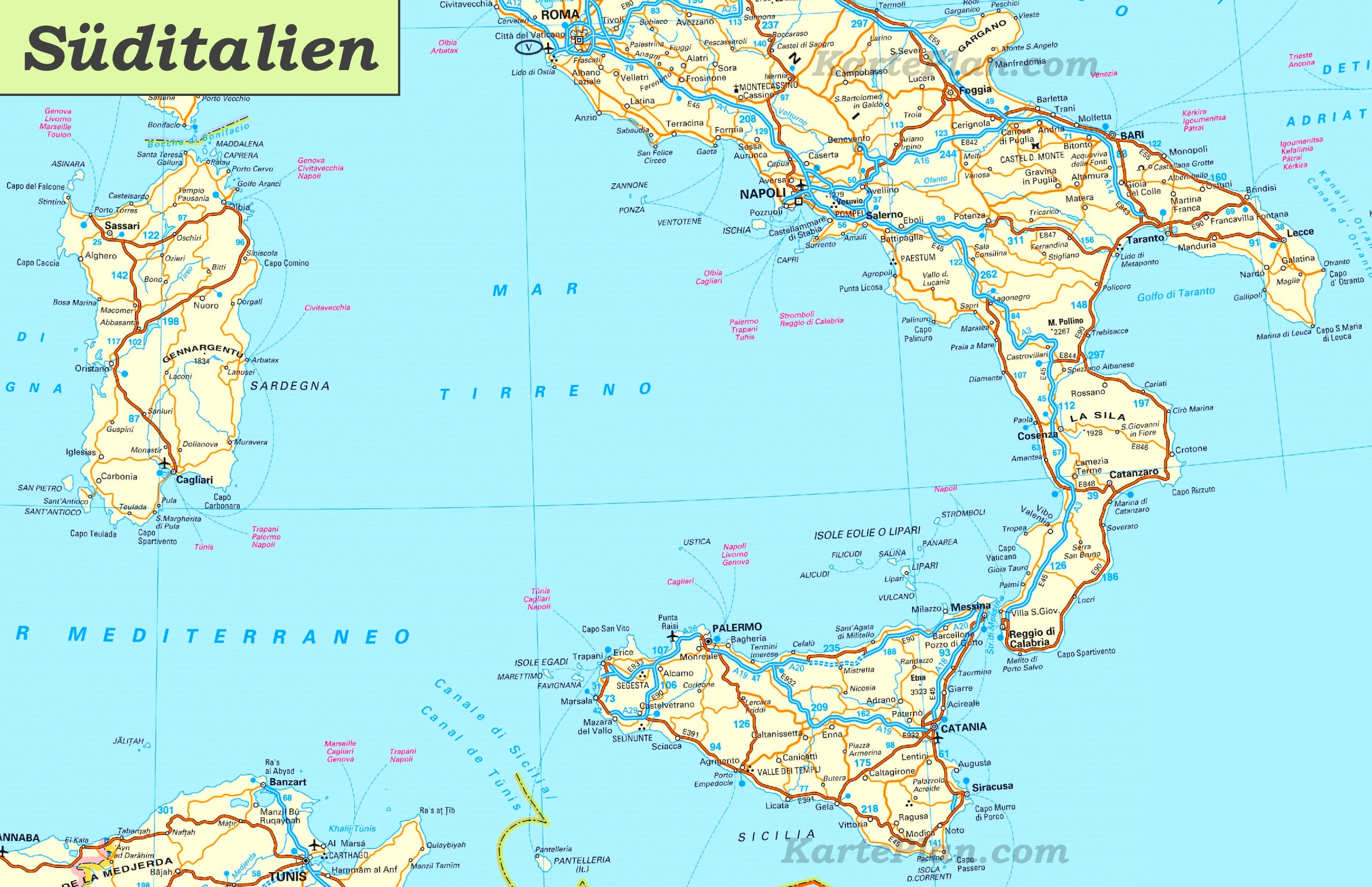 süditalien karte Karte von Süditalien