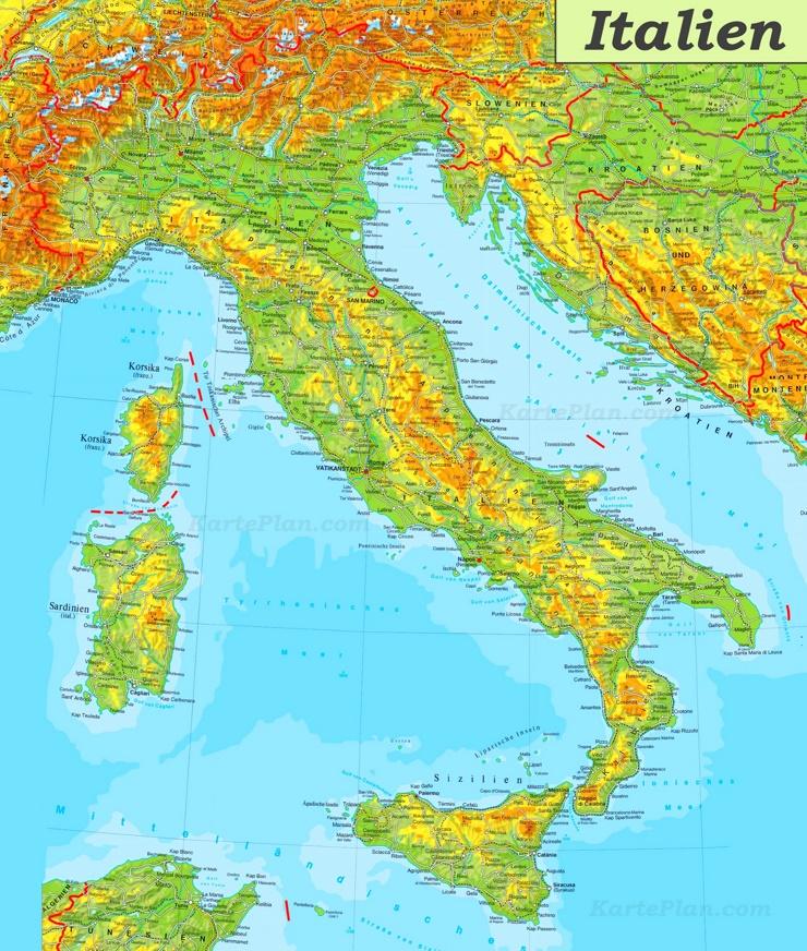 Physische landkarte von Italien