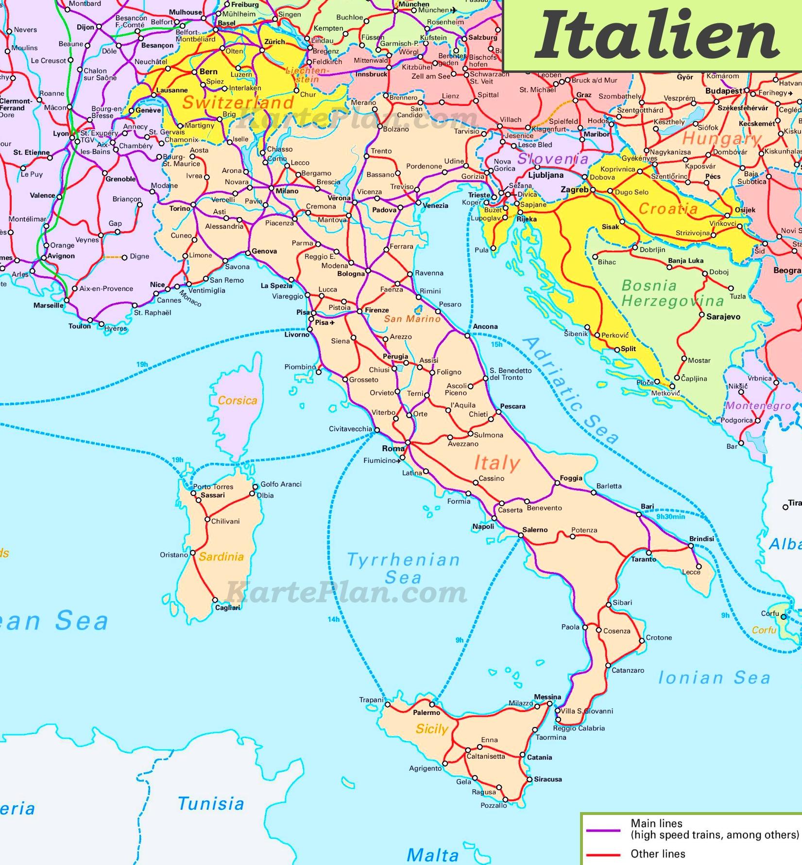 Norditalien Karte.Schienennetz Karte Von Italien