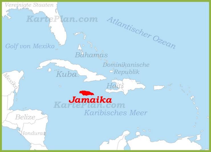 Jamaika auf der karte Karibiks