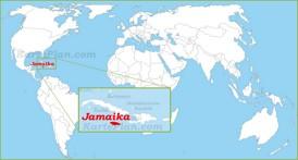 Jamaika auf der Weltkarte