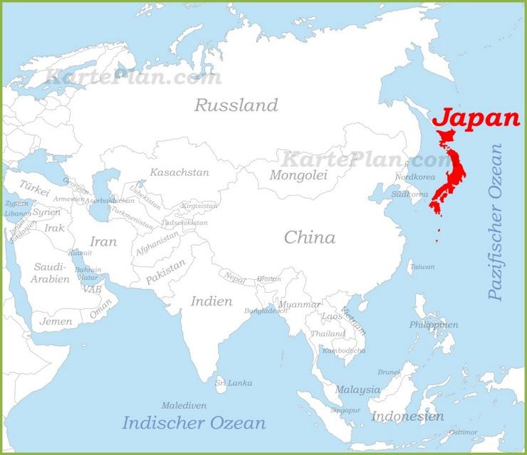 Japan auf der karte Asiens