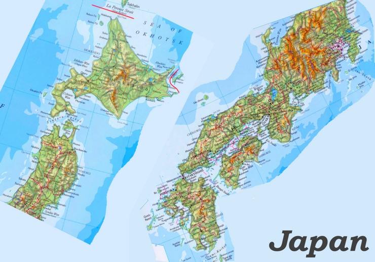 Physische landkarte von Japan