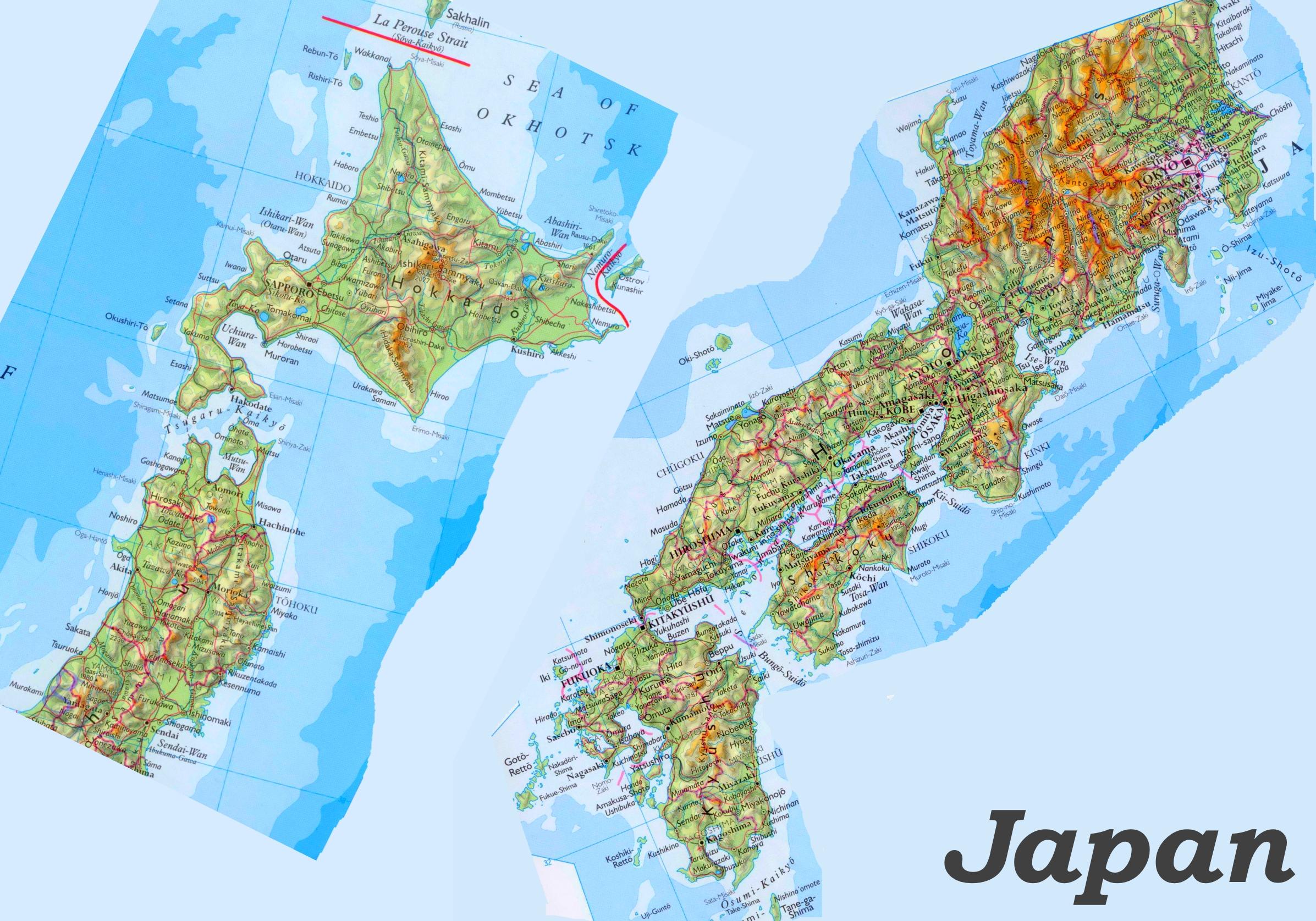 Japan Karte Physisch.Physische Landkarte Von Japan