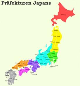 Präfekturen Japans - Karte