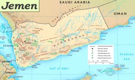 Jemen touristische karte