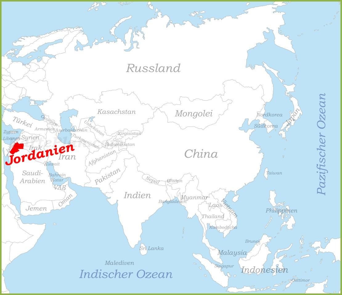 Jordanien Karte.Jordanien Auf Der Karte Asiens