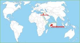 Jordanien auf der Weltkarte