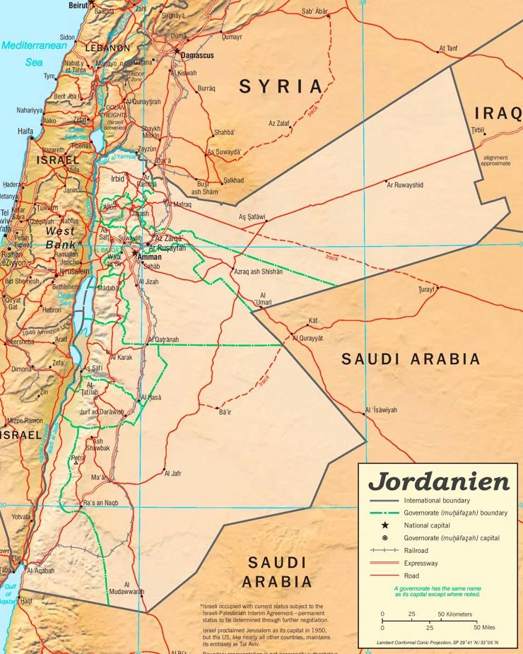 Jordanien politische karte