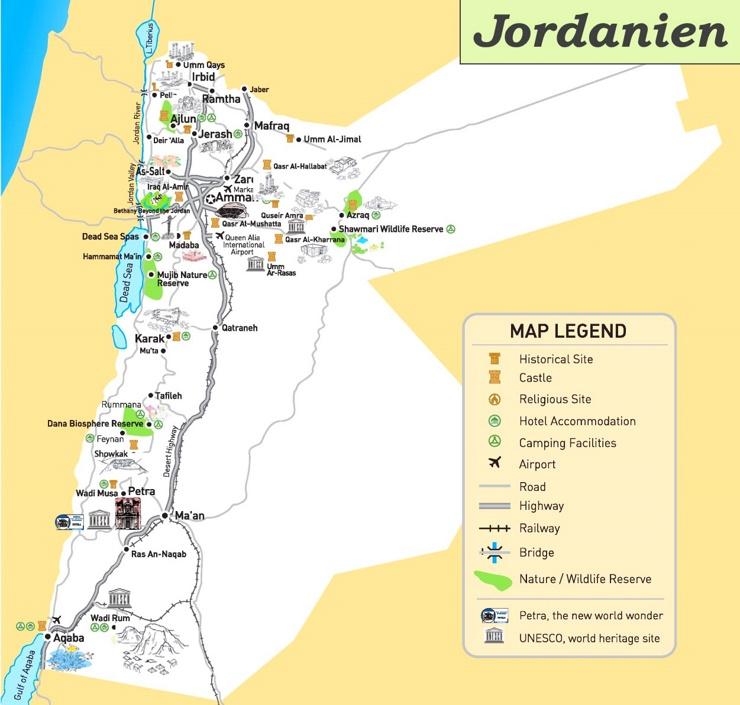 Jordanien touristische karte
