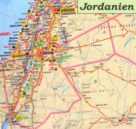 Straßenkarte Jordanien