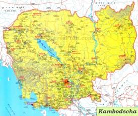 Große detaillierte karte von Kambodscha