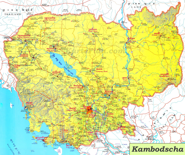 Kambodscha Karte.Grosse Detaillierte Karte Von Kambodscha