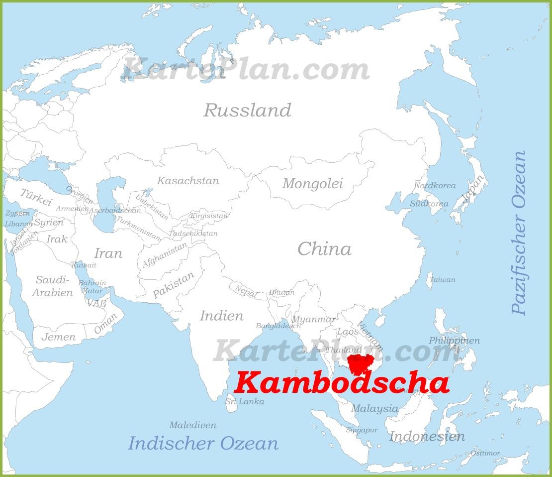 Kambodscha Karte.Kambodscha Auf Der Karte Asiens