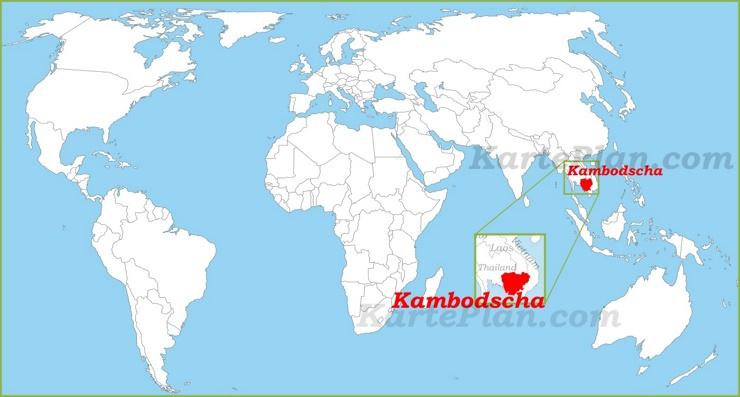Kambodscha auf der Weltkarte